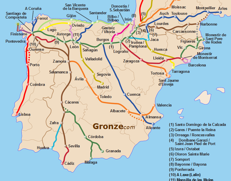 Carte des principaux chemins en Espagne et au Portugal