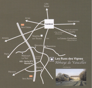 Plan d'accès à l'abbaye de Vaucelles